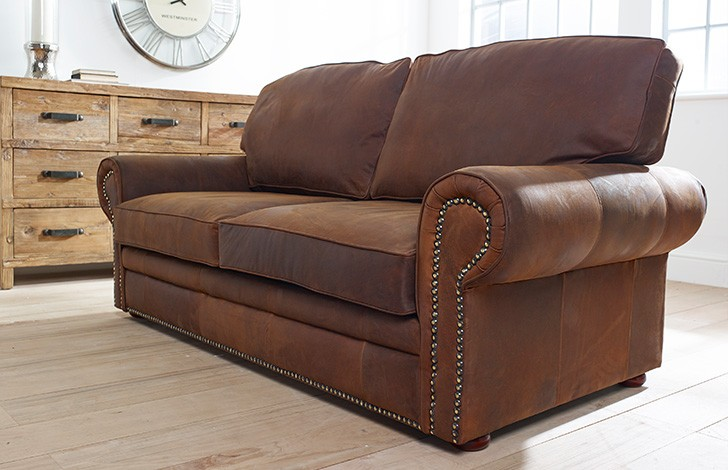 Stunning Brown Leather Couch With Studs Hamilton Studded Leather Sofa Bed