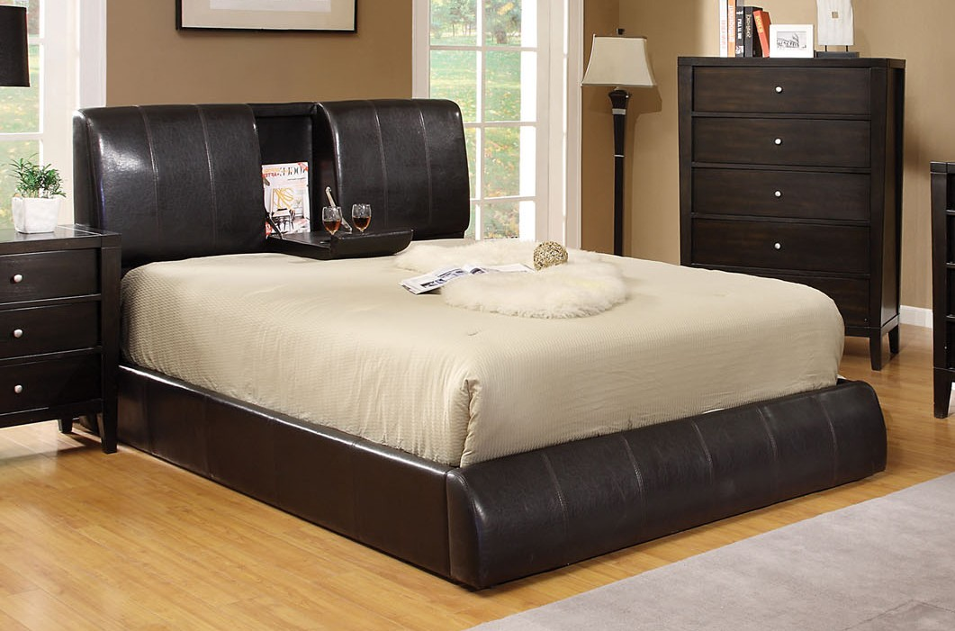 Stunning California King Platform Bed Frame Webster Espresso Leatherette Upholstered California King Platform