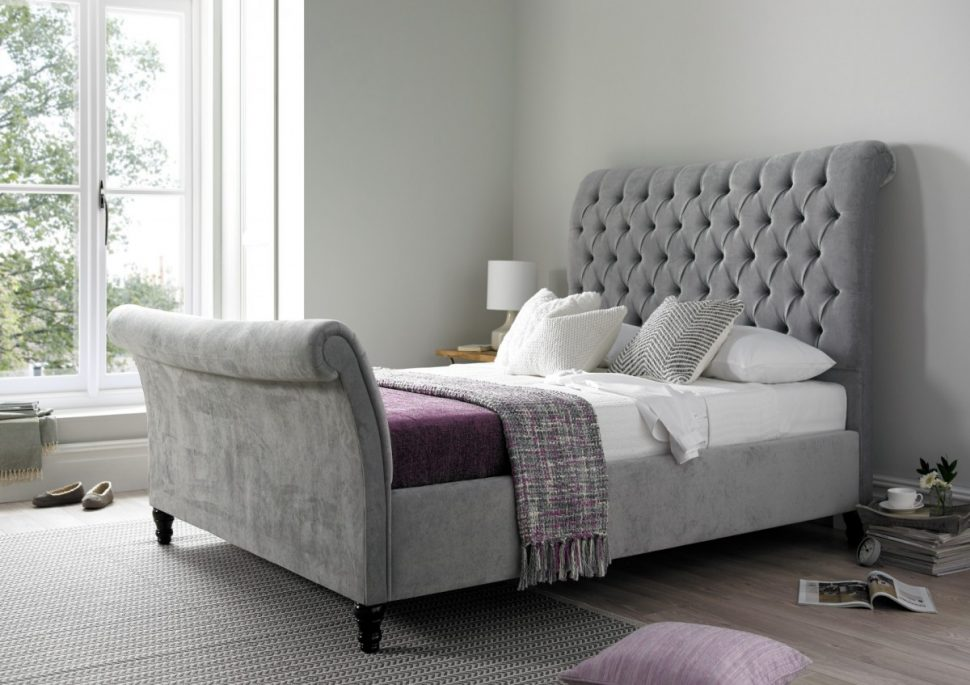 Stunning California King Tufted Sleigh Bed Bedroom Upholstered Sleigh Bed California King Tufted Sleigh Bed