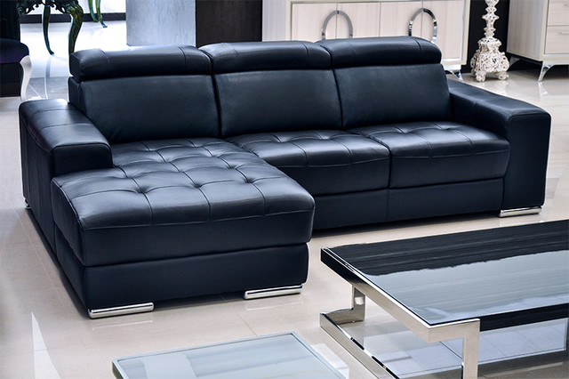 Stunning Contemporary Navy Blue Sectional Sofa Donato Modern Leather Sectional