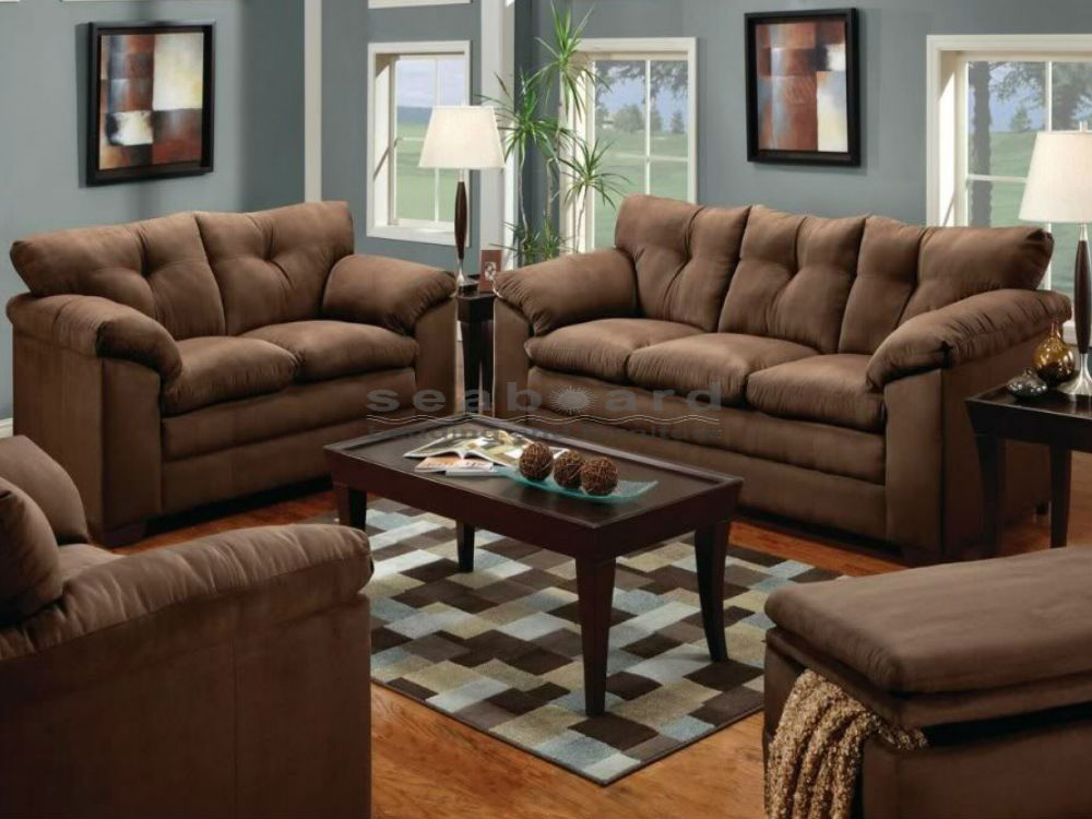 Stunning Couch And Loveseat Combo Luna Chocolate Microfiber Sofa And Loveseat Set 6565