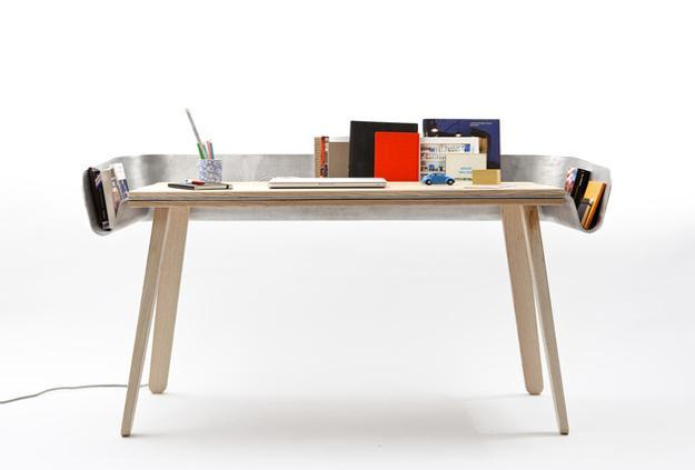 Stunning Creative Office Table Unusual Wooden Office Desk With Creative Channel Shaped Storage Shelf