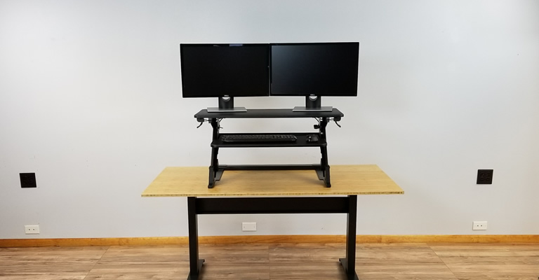 Stunning Desk For Monitors Top 6 Sit To Stand Converters For Dual Monitors Up To 24