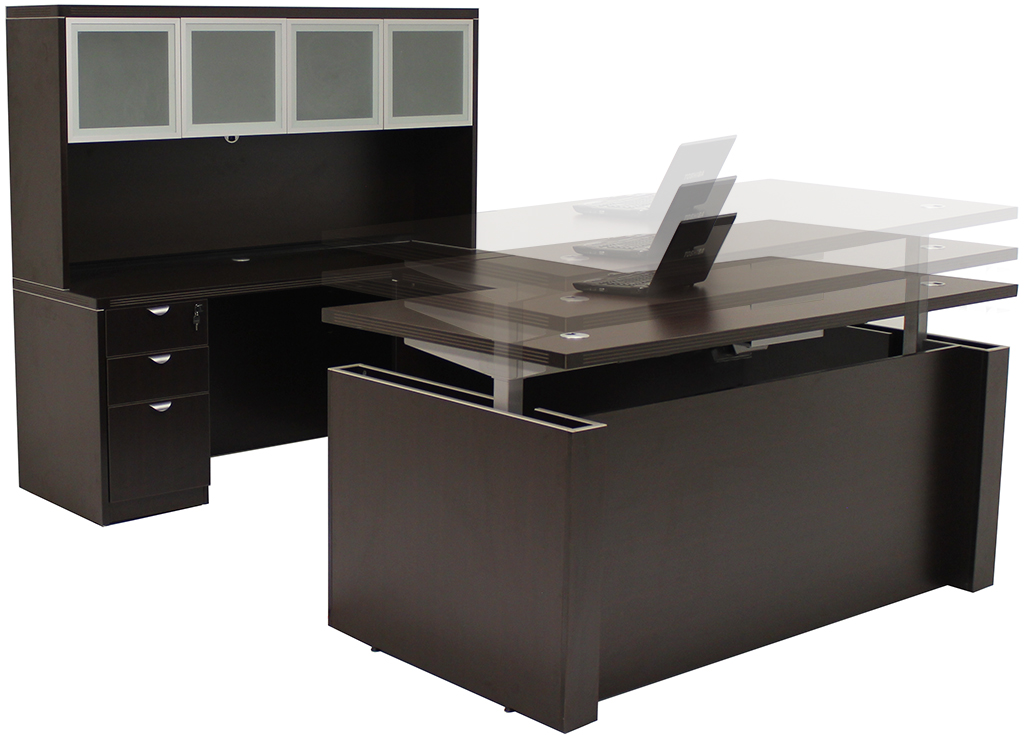 Stunning Executive Office Furniture Adjustable Height U Shaped Executive Office Desk Whutch In Mocha