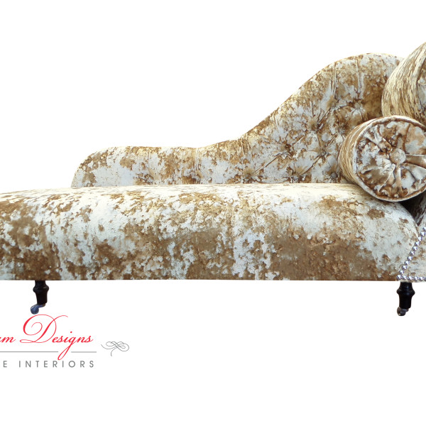 Stunning Gold Velvet Chaise Lounge Gorgeous Bespoke Indian Summer Gold Crushed Velvet Button Back