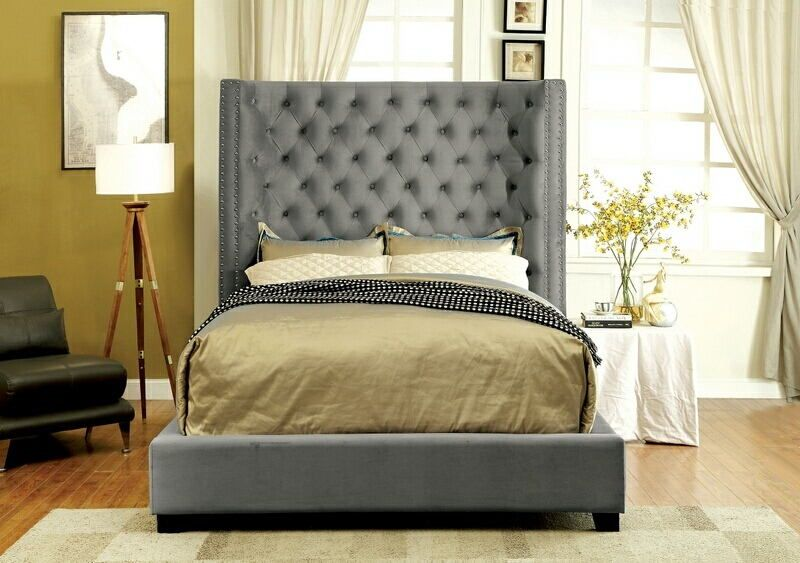 Stunning Headboard And Frame Set Cm7679gy Mirabelle Collection Gray Fabric Upholstered And Tufted
