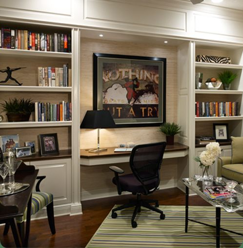 Stunning Home Office Desk And Bookshelf Great Built In Shelving Desk Nook The Lighting Is The Key To