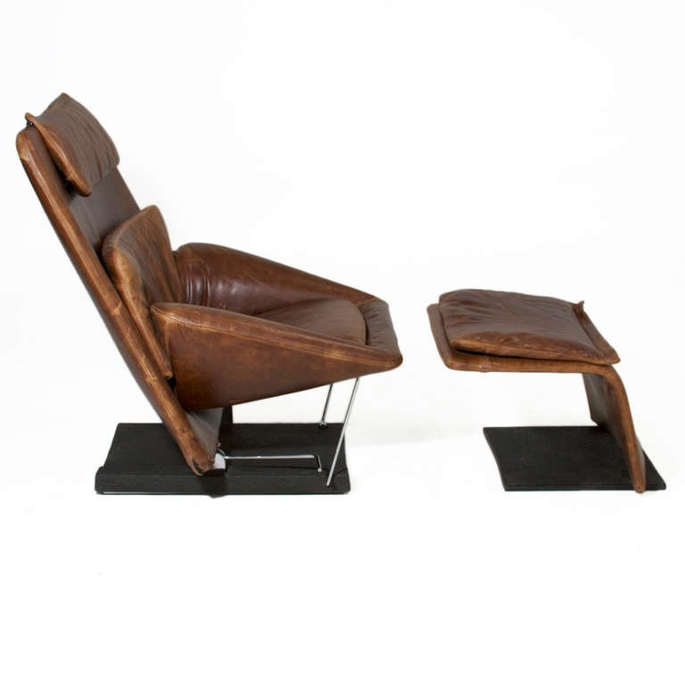 Stunning Leather Chair And Ottoman Saporiti Distressed Brown Leather Chair And Ottoman At 1stdibs