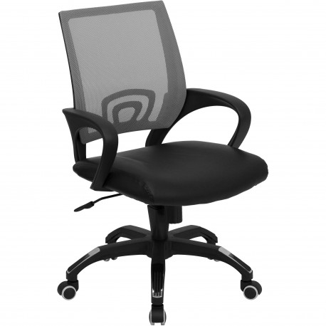 Stunning Leather Computer Chair Midback Gray Mesh Computer Chair With Black Leather Seat