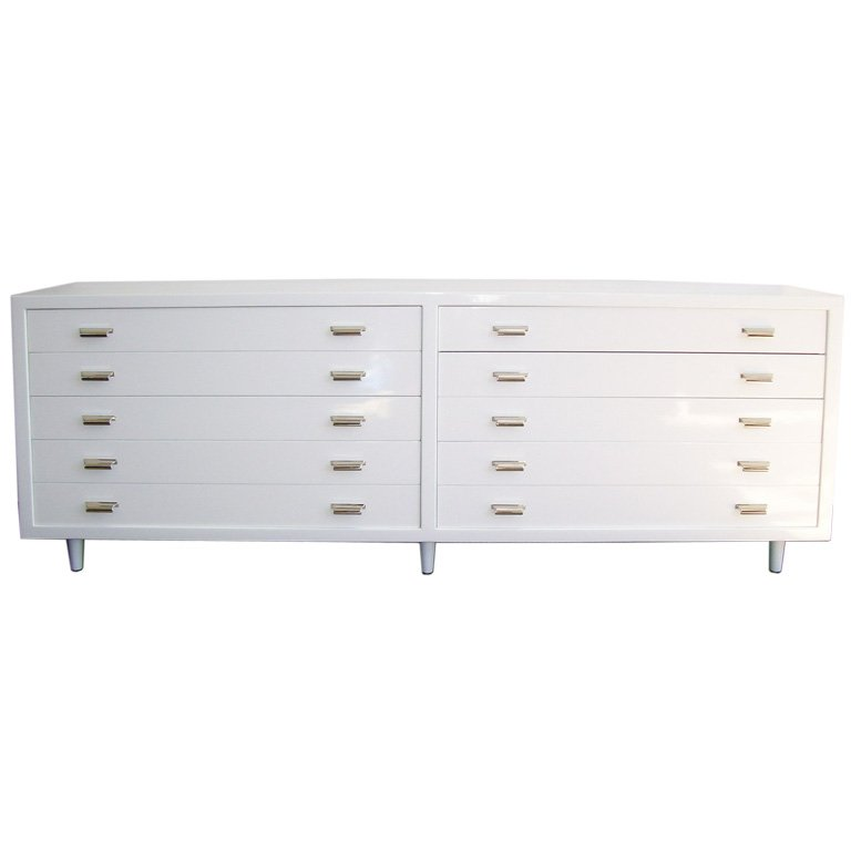 Stunning Long Chest Of Drawers A Long White Modern Chest Of Drawers At 1stdibs