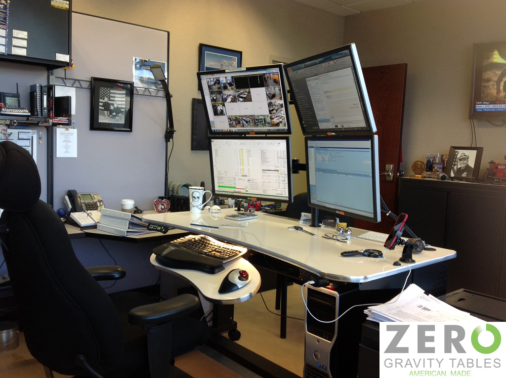 Stunning Multi Screen Desk Multi Monitor Computer Desk Rack Rail Configuration 4 Monitors Mounted Sit To Stand Adjustable Height Standing Desk Solution Copy