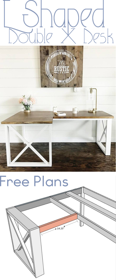 Stunning Office Desk Design Plans L Shaped Double X Desk Home Sweet Home Pinterest Diy Office