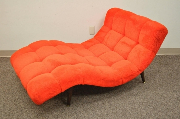 Stunning Orange Chaise Lounge Indoor Orange Whitedouble Wide Chaise Lounge Sectional With Curved Tufted