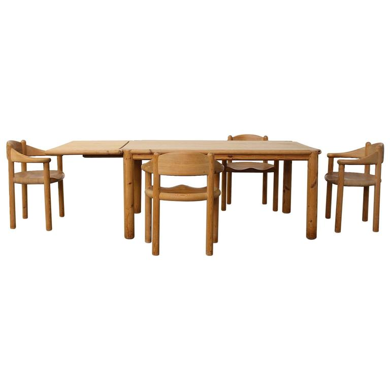 Stunning Pine Dining Chairs Rare Rainer Daumiller Pine Dining Set Of A Table And Four Chairs