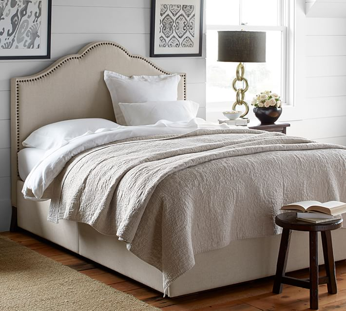 Stunning Platform Bed With Upholstered Headboard Fallon Upholstered Headboard Storage Platform Bed Pottery Barn