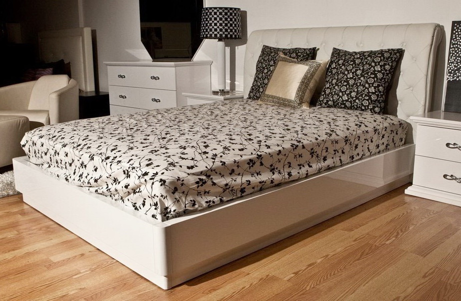 Stunning Platform Bed With Upholstered Headboard Glam Modern Platform Bed Upholstered Headboard And White Lacquer