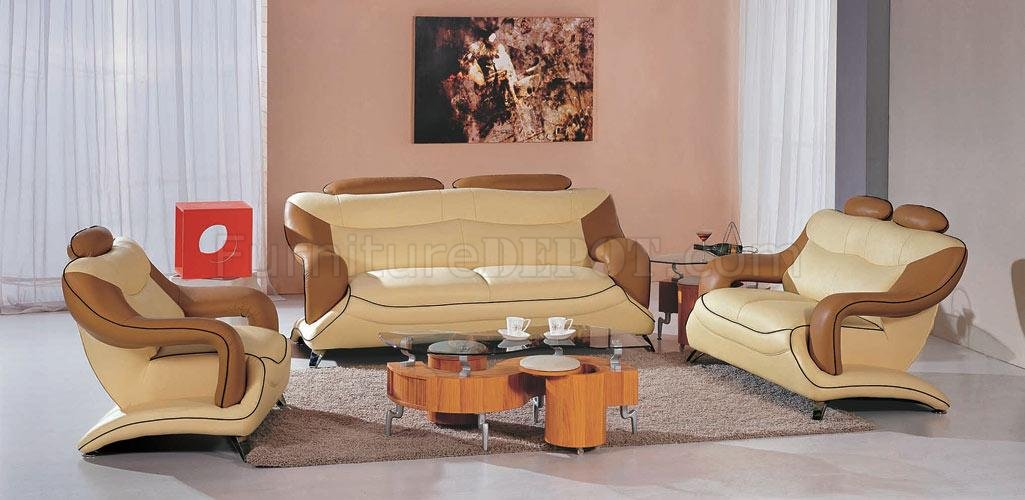 Stunning Set Of Two Living Room Chairs Two Tone Leather Modern 3pc Living Room Set 7055 Beige Brown