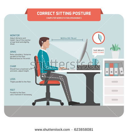Stunning Sit Ergonomically At Desk Posture Stock Images Royalty Free Images Vectors Shutterstock