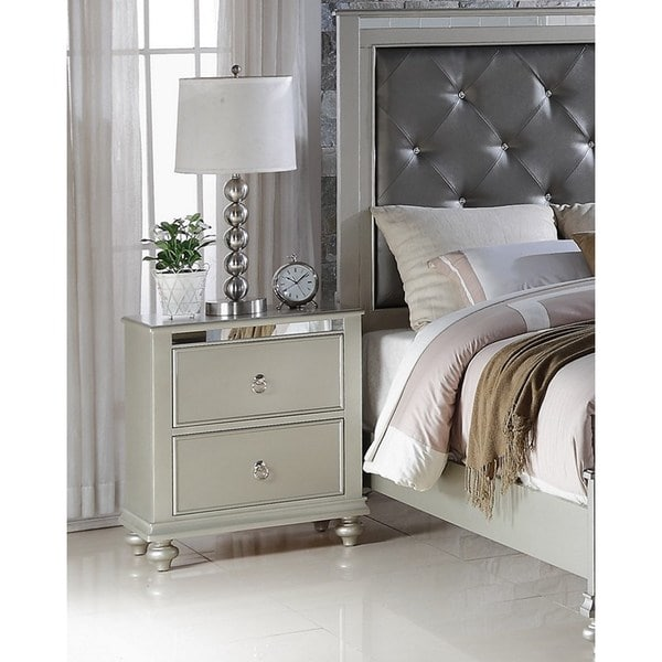 Stunning White And Silver Nightstand Lyke Home Nevaeh Silver Nightstand Free Shipping Today