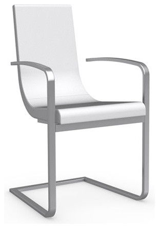 Stunning White Leather Dining Chairs With Arms Cruiser Leather Arm Chair With Cantilever Base Modern Dining