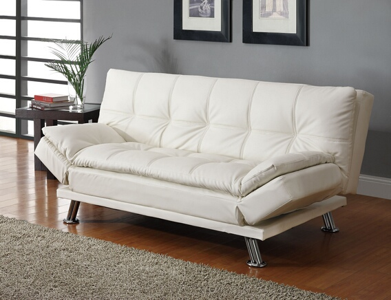Stunning White Leather Futon Sofa White Finish Leather Like