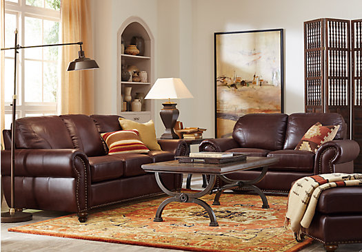 Stylish 5 Piece Living Room Furniture Sets 229999 Brockett Brown Leather 5 Pc Living Room Classic