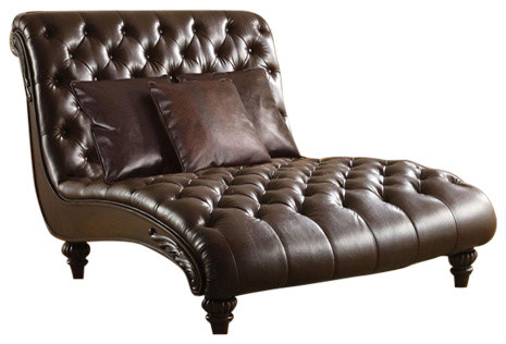 Stylish Accent Chaise Lounge Chairs Preston 2 Tone Espresso Bi Cast Leather Lounge Chaise Chair With