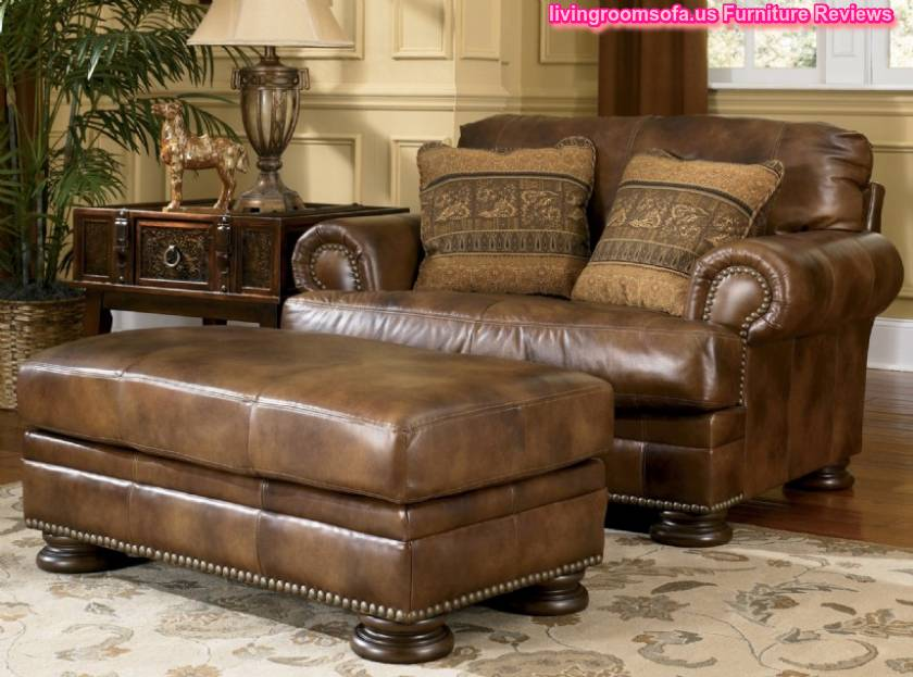 Stylish Ashley Brown Leather Couch Classic Brown Leather Sofa And Ottoman Ashley Furniture