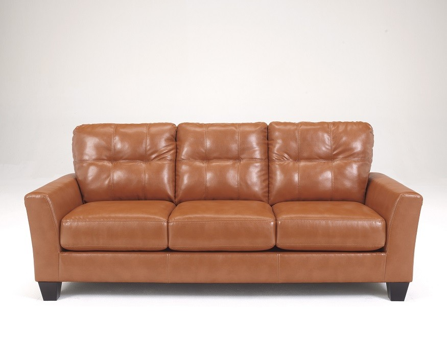 Stylish Ashley Brown Leather Sofa Contemporary Leather Sofa Orange Sam Levitz Furniture