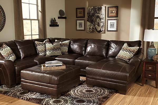 Stylish Ashley Leather Sectional Sofa The Beenison Chocolate Sectional From Ashley Furniture Homestore