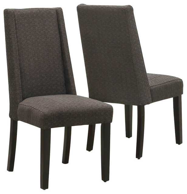 Stylish Black Brown Dining Chairs Monarch Specialties Linen Dining Chair Set Of 2 Dining Chairs