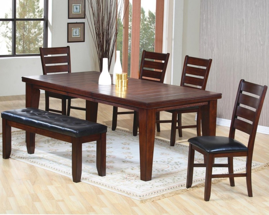 Stylish Black Leather And Wood Dining Chairs Beautiful Rectangle Shape Wooden Dining Table Featuring Brown