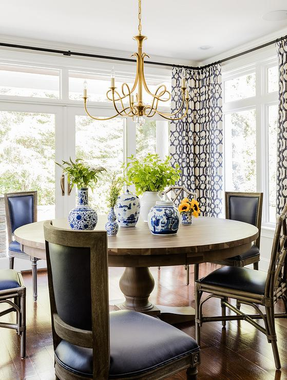 Stylish Black Leather And Wood Dining Chairs Round Dining Table And Black French Dining Chairs With Double