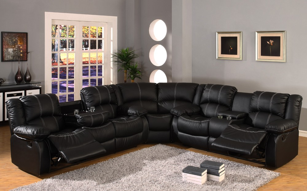 Stylish Black Sectional Sofa With Chaise Amazing Black Leather Reclining Sectional Sofa 1000 Ideas About