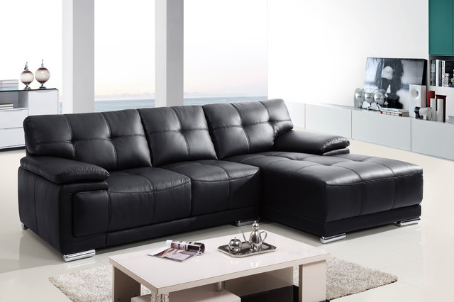 Stylish Black Sectional Sofa With Chaise Small Leather Sectional Sofas For Small Living Room S3net