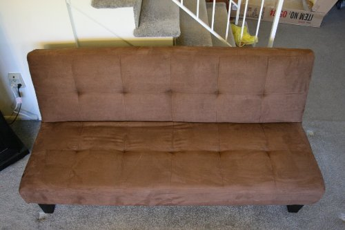Stylish Brown Futon Sofa Bed Chocolate Brown Microfiber With Adjustable Back Klik Klak Sofa