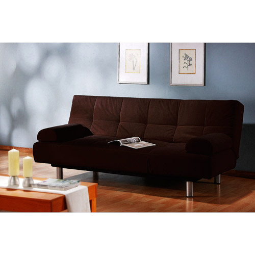 Stylish Brown Futon Sofa Bed Microfiber Futon Folding Sofa Bed Couch Mattress Storage