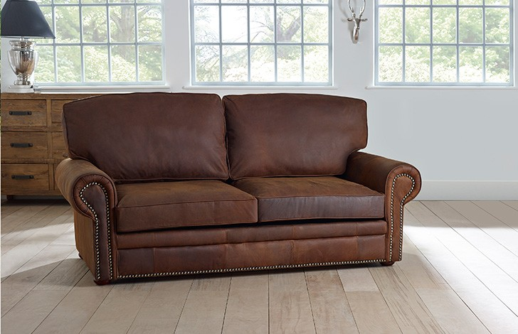 Stylish Brown Leather Couch With Studs Hamilton Studded Leather Sofa Bed