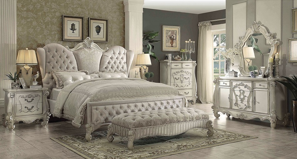 Stylish Cal King Bed Frame Versailles Collection 21124ck Acme California King Bed Frame
