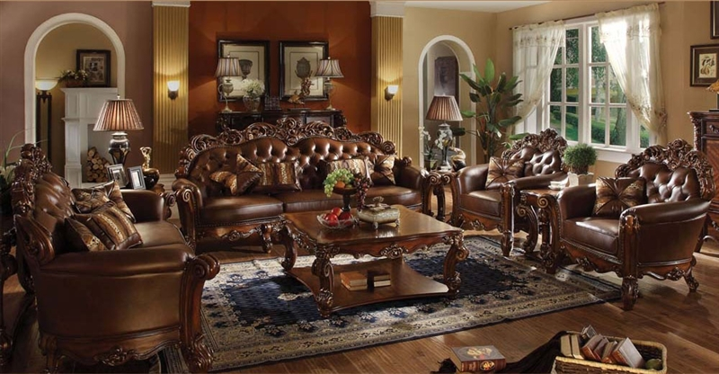 Stylish Complete Living Room Packages Vendome 6 Piece Complete Living Room Set In Cherry Finish Acme