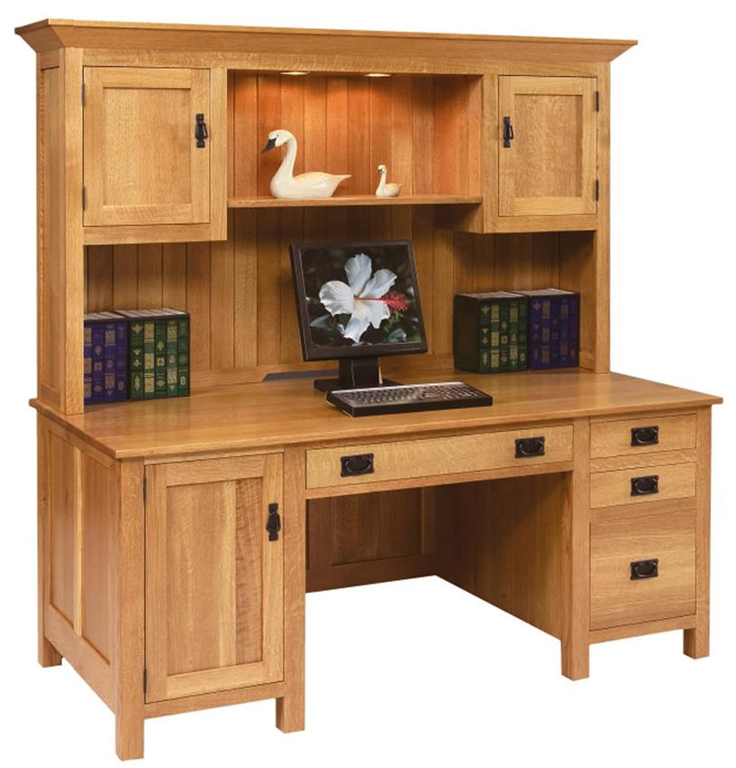 Stylish Computer Desk With Hutch Large Mission Computer Desk With Hutch Top