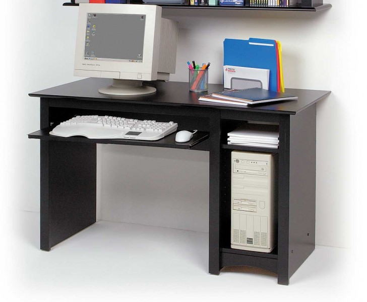 Stylish Computer Table Design For Small Space Simple Modern Computer Desk Design With Black Accent Combined