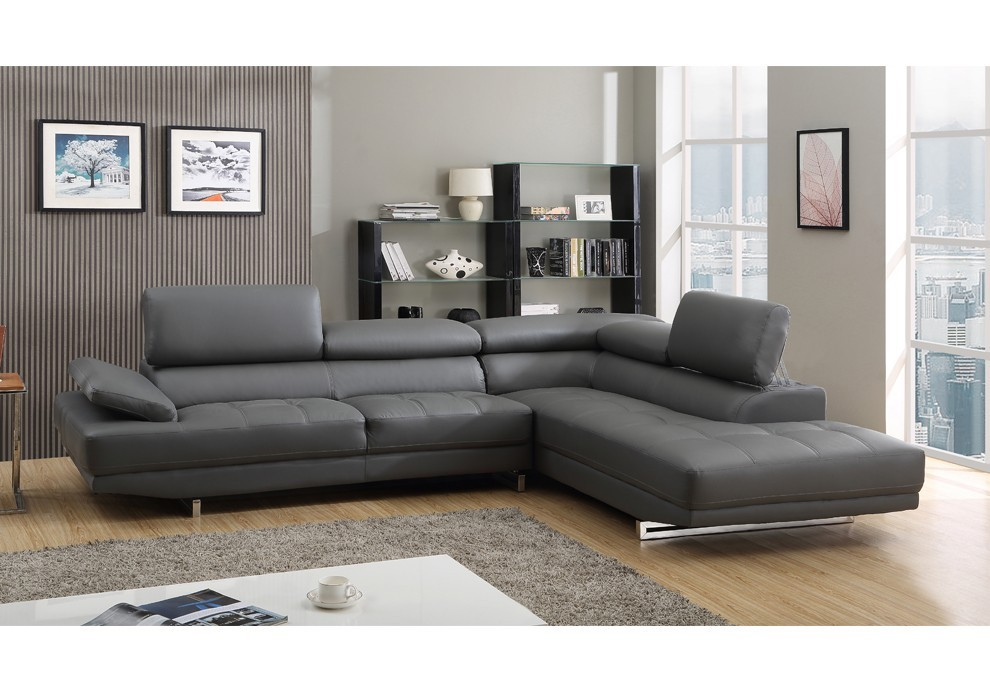 Stylish Contemporary Grey Leather Sofa Marvelous Corner ...