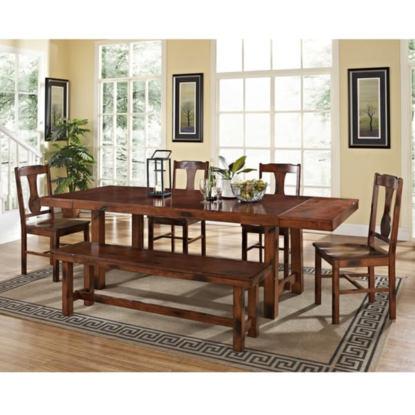Stylish Dark Wood Dining Chairs Rustic Dark Oak 6 Piece Wood Dining Set With Dining Bench Free