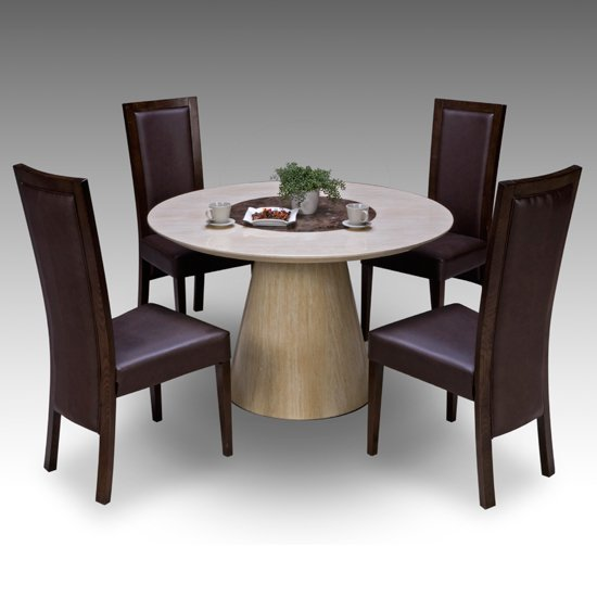 Stylish Dining Table And 4 Chairs Retro Round Marble Dining Table 4 Retro Elm Chairs 15674
