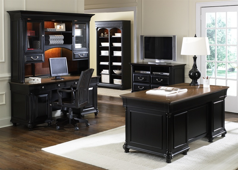 Stylish Executive Home Office Furniture St Ives 5 Piece Jr Executive Home Office Set In Two Tone Finish