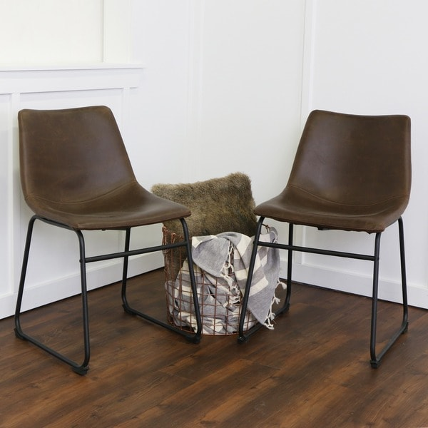 Stylish Faux Leather Dining Chairs 18 Inch Seat Height Brown Faux Leather Dining Chairs Set Of 2