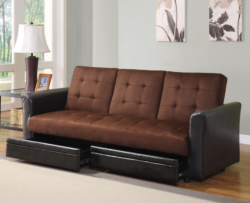 Stylish Futon Couch Bed With Storage Chocolate Microfiber Adjustable Sofa Bed Futon With Storage