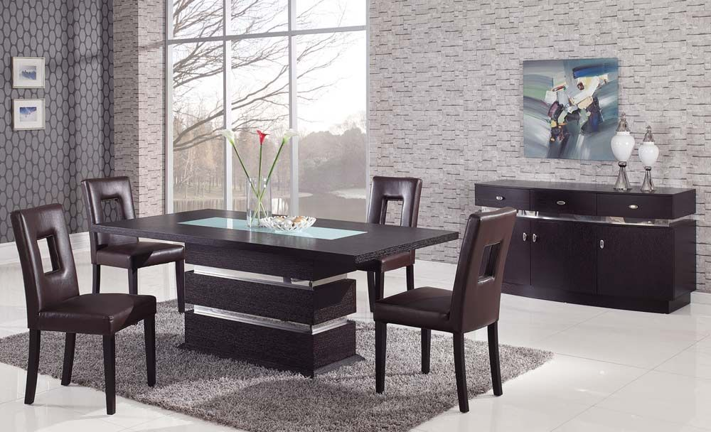 Stylish Glass Top Modern Dining Table Sophisticated Rectangular Wood And Frosted Glass Top Leather