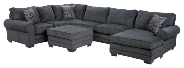 Stylish Gray Microfiber Sectional Sofa Charisma Sectional Contemporary Living Room San Diego